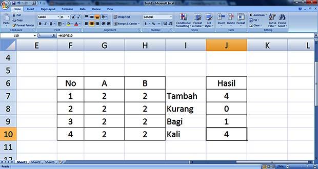 Rumus Excel Tambah Kurang Bagi Kali Terlengkap 2018