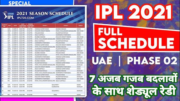 IPL 2021 फेज-2 का शेड्यूल देखे