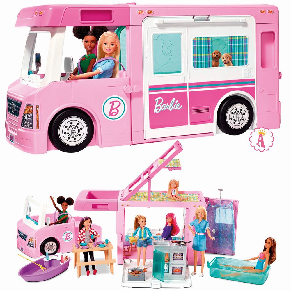Barbie 3-in-1 DreamCamper Vehicle 2020 with Pool, Truck, Boat and 50 Accessories
