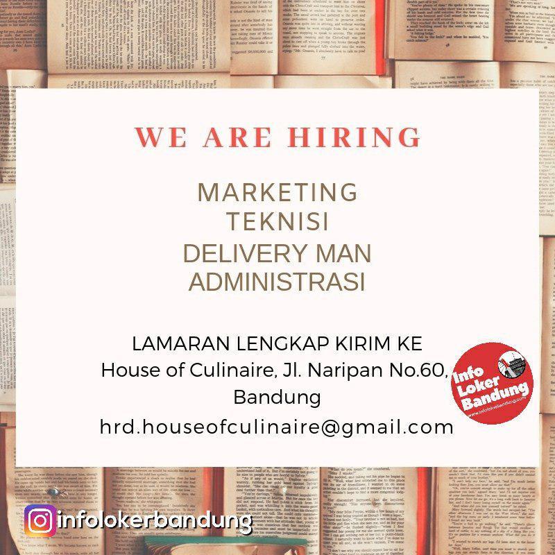 Lowongan Kerja House of Culinaire Bandung Januari 2019
