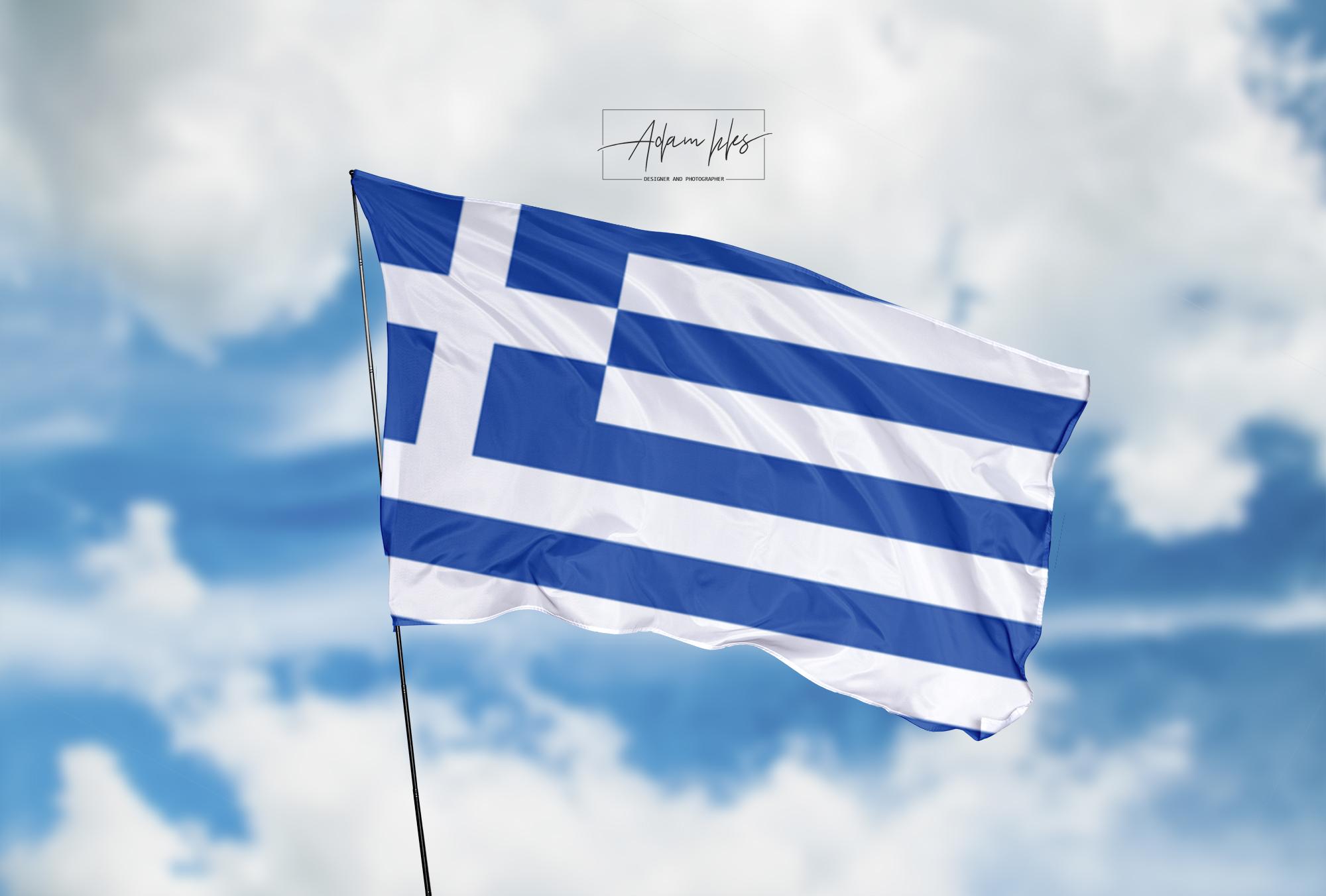 تحميل اجمل خلفية علم اليونان يرفرف في السماء - اجمل خلفيات اليونان الرائعة