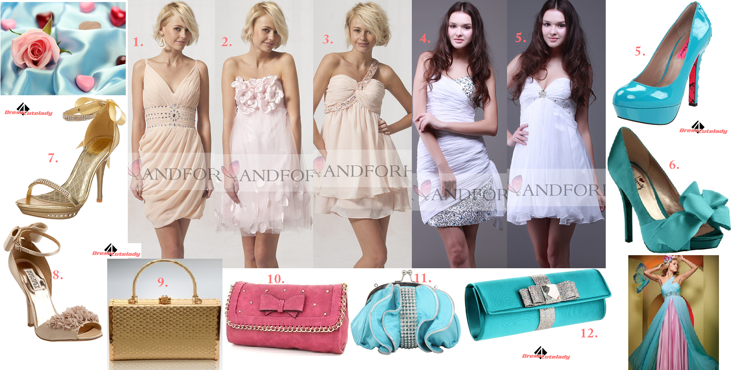 You already know these colors and styles are trendy with 2012 fashion  trend. Pink and white dresses going with sea blue accessories. 55a91d7a8