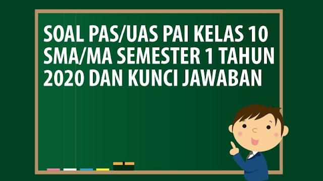 Soal PAS/UAS PAI Kelas 10 SMA/MA Semester 1 Tahun 2020