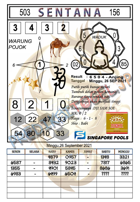 Syair Sentana SGP Minggu 26-09-2021