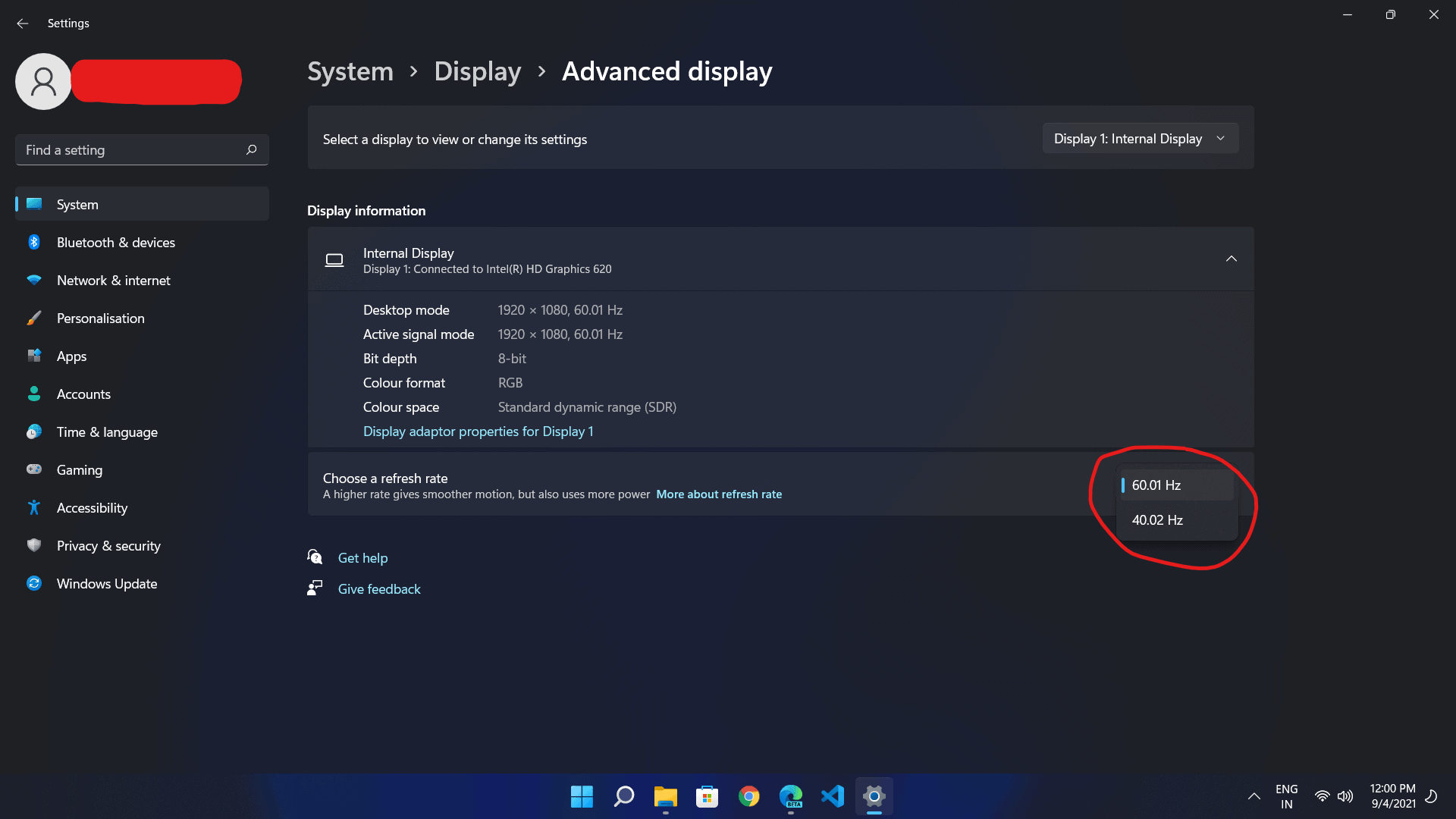 how many hertz is my monitor' in Windows 11