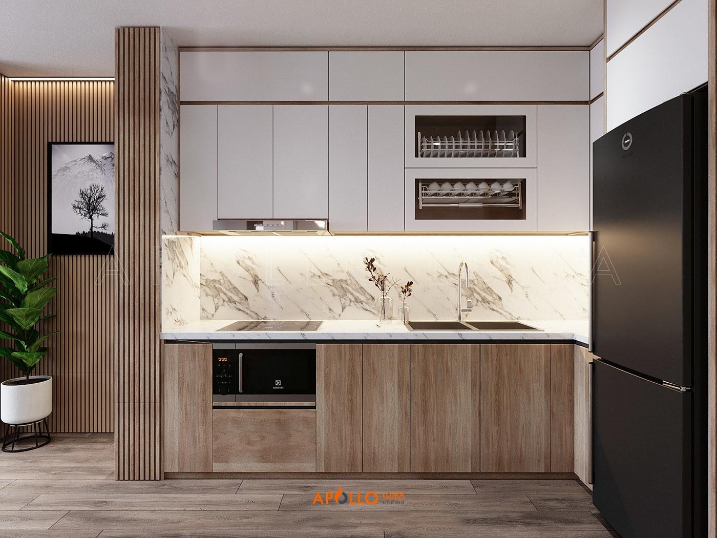 Thiết kế nội thất căn hộ 2 phòng ngủ Vinhomes Skylake Phạm Hùng