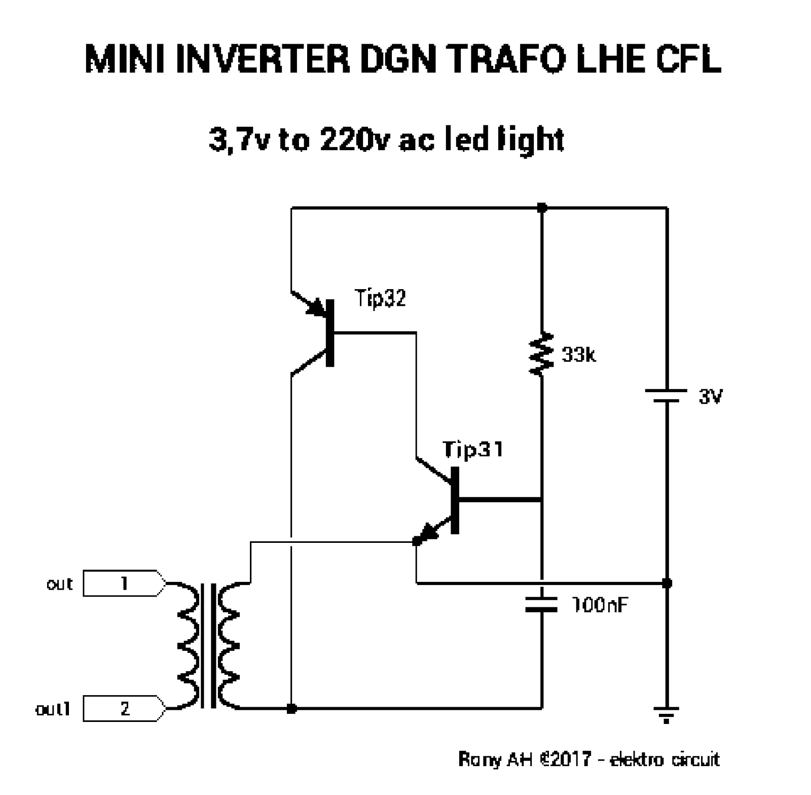 10 Watt Led Driver Circuit Diagram Minn Kota Trolling Motor Parts Membuat Inverter Dgn Trafo Lhe Cfl Kumpulan Skema