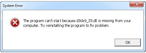 Télécharger D3dx9_33.dll Fichier Gratuit Installer