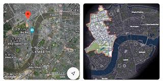 ロンドンとマップ広さを比較