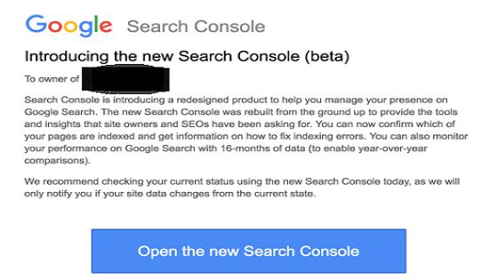 النسخة الجديدة لادوات مشرفي المواقع اشعار في البريد الاليكتروني
