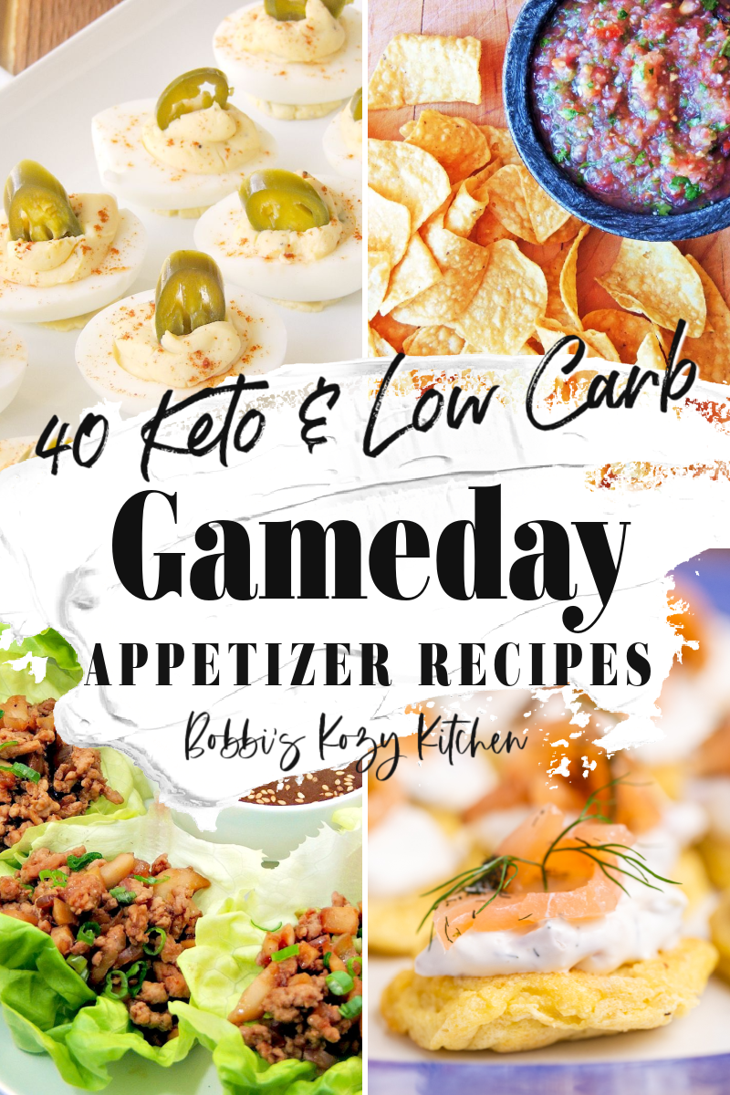 Collage of 4 photos of appetizers from 40 of The Best Keto and Low Carb Gameday Recipes.