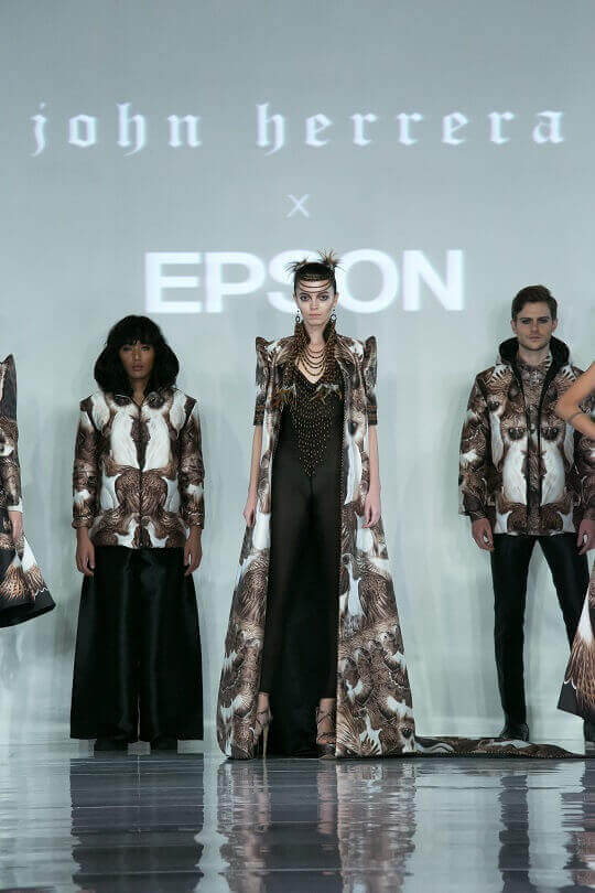 The latest collection is printed with Epson's SureColor F-series dye-sublimation digital textile printers, the SureColor SC-F9270 and SC-6270.