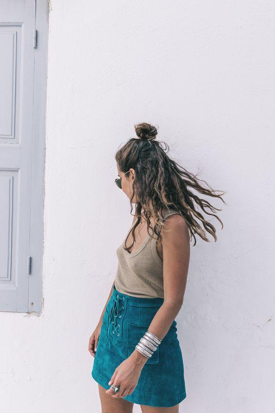 Collage Vintage Topshop Blue Suede Lace Up A Line Skirt