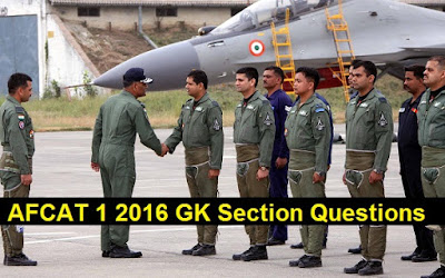 AFCAT 1 2016 GK Section Questions Answers