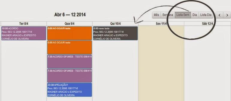 , Novidade GPJWEB – Novas formas de visualização da agenda Gojur