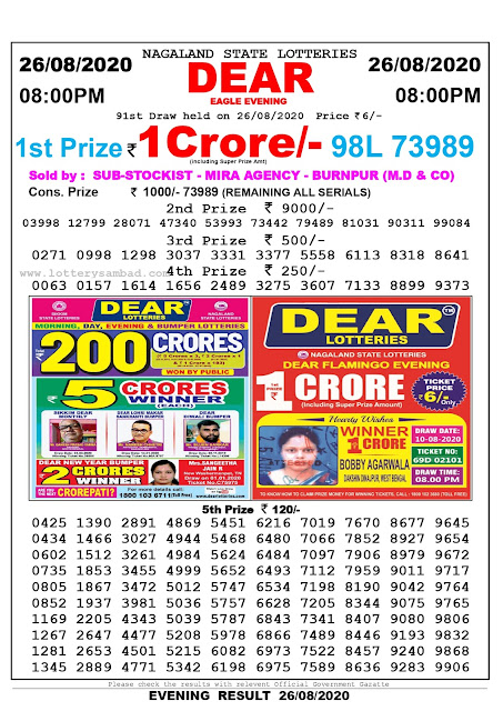 Lottery Sambad Result 26.08.2020 Dear Eagle Evening 8:00 pm