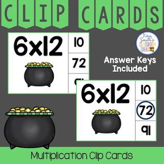 Multiplication 0 to 12 Facts Clip Cards St. Patrick's Day Themed