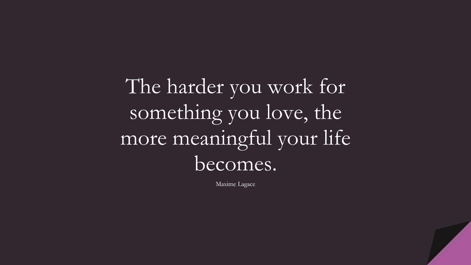 The harder you work for something you love, the more meaningful your life becomes. (Maxime Lagace);  #SuccessQuotes