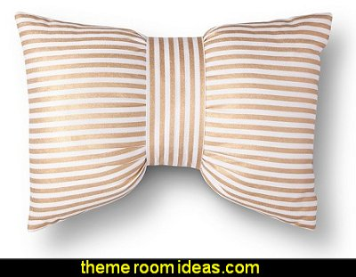 Metallic Stripe Bow Decorative Pillow