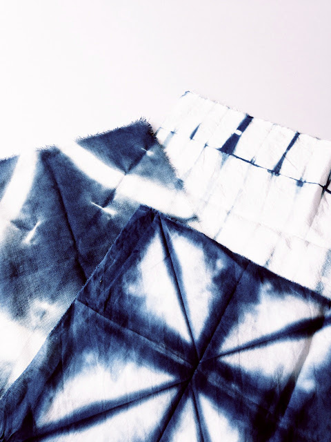 3 pieces of shibori fabric © Laura Luchtman
