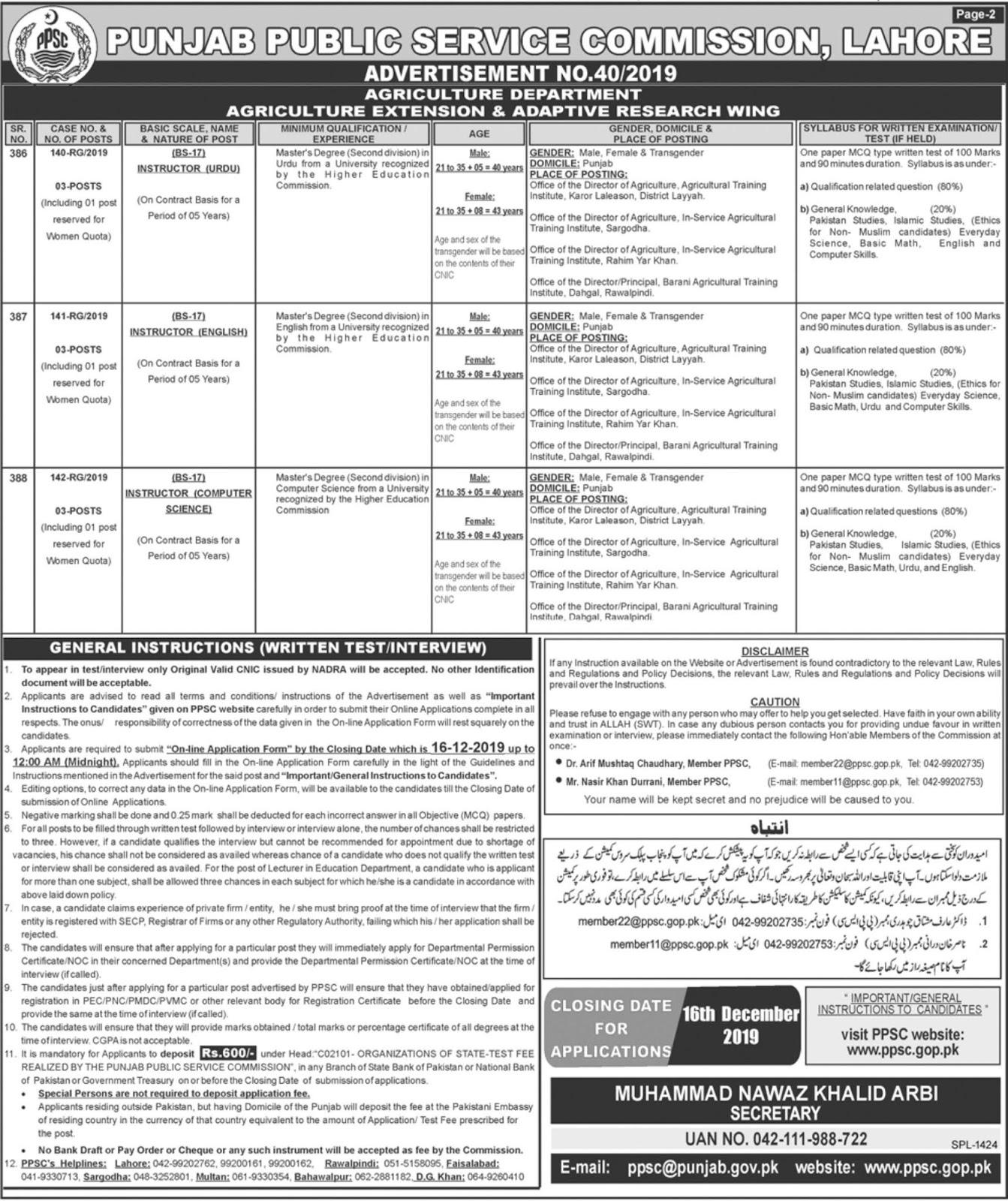 PPSC Jobs December 2019 For Multiple Posts Apply Online