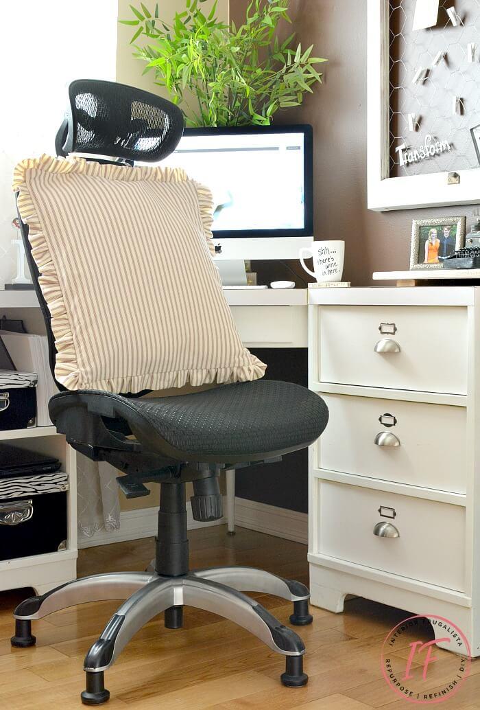 Office Chair Farmhouse Ruffled Bolster Pillow
