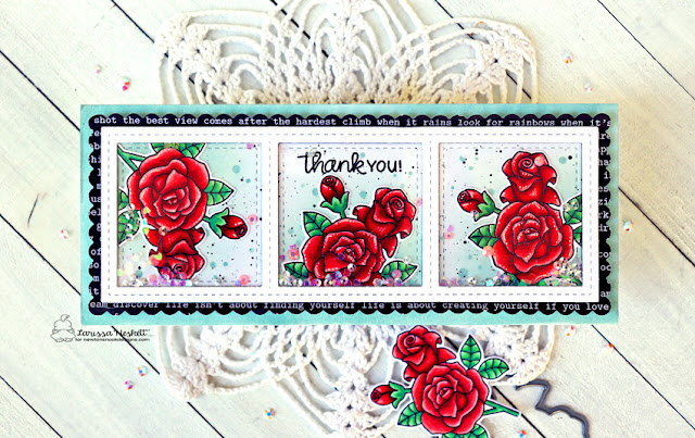 Thank You by Larissa Heskett for Newton's Nook Designs using Roases Stamp Set, Slimline Frames & Windows and Slimlime Frames & Portholes #newtonsnook #newtonsnookdesigns #rosesstampset #slimlineframes