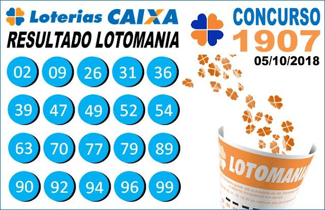 Resultado da Lotomania concurso 1907 de 05/10/2018 (Imagem: Informe Notícias)