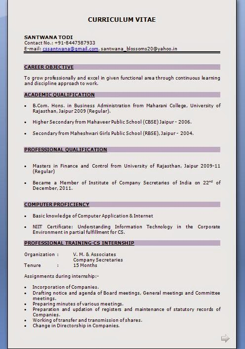 Masters in Finance and Control Resume