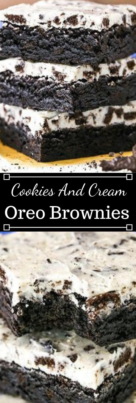 FUDGY COOKIES AND CREAM BROWNIES #desserts #cookies #brownies #cream #easy