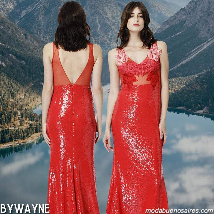 Vestidos de fiesta 2020 largos. │ Vestido de fiesta largo rojo con apliques colección Natalia Antolin primavera verano 2020.