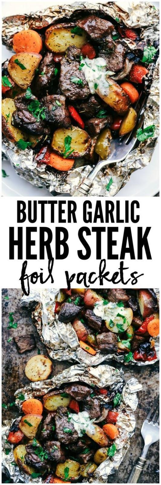 Butter Garlic Herb Steak Foil Packets