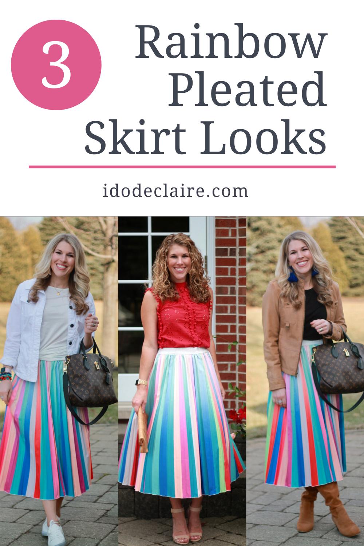 Rainbow Pleated Skirt 3 Ways