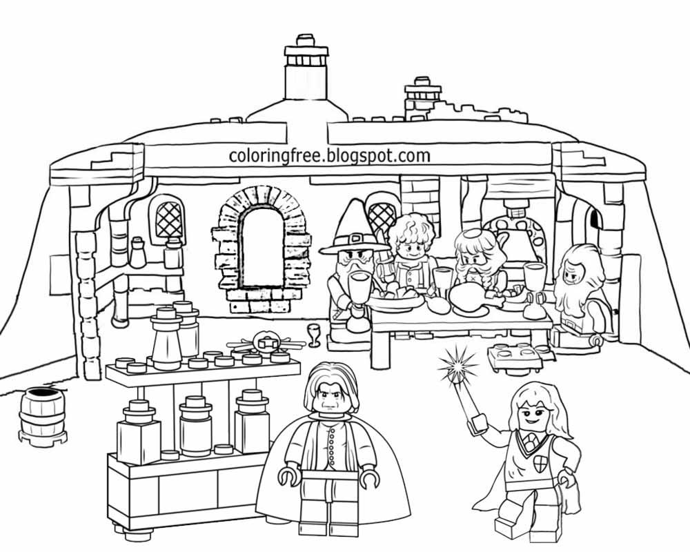 Potions master professor Severus Snape Hogwarts printable kids Lego Harry Potter colouring book page
