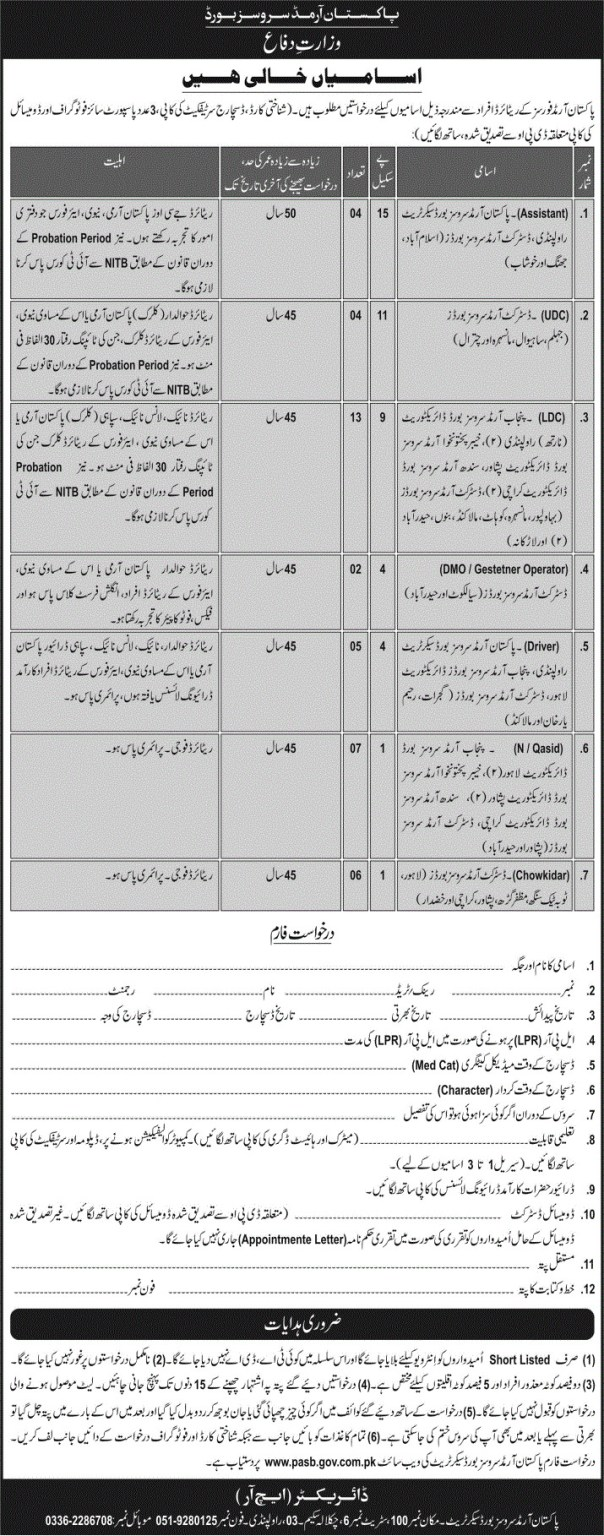 www.pasb.gov.pk - PASB Pakistan Armed Services Board Jobs 2021 in Pakistan
