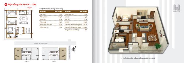 Thiết kế căn hộ 01 - 06 chung cư hacc1 lê văn lương
