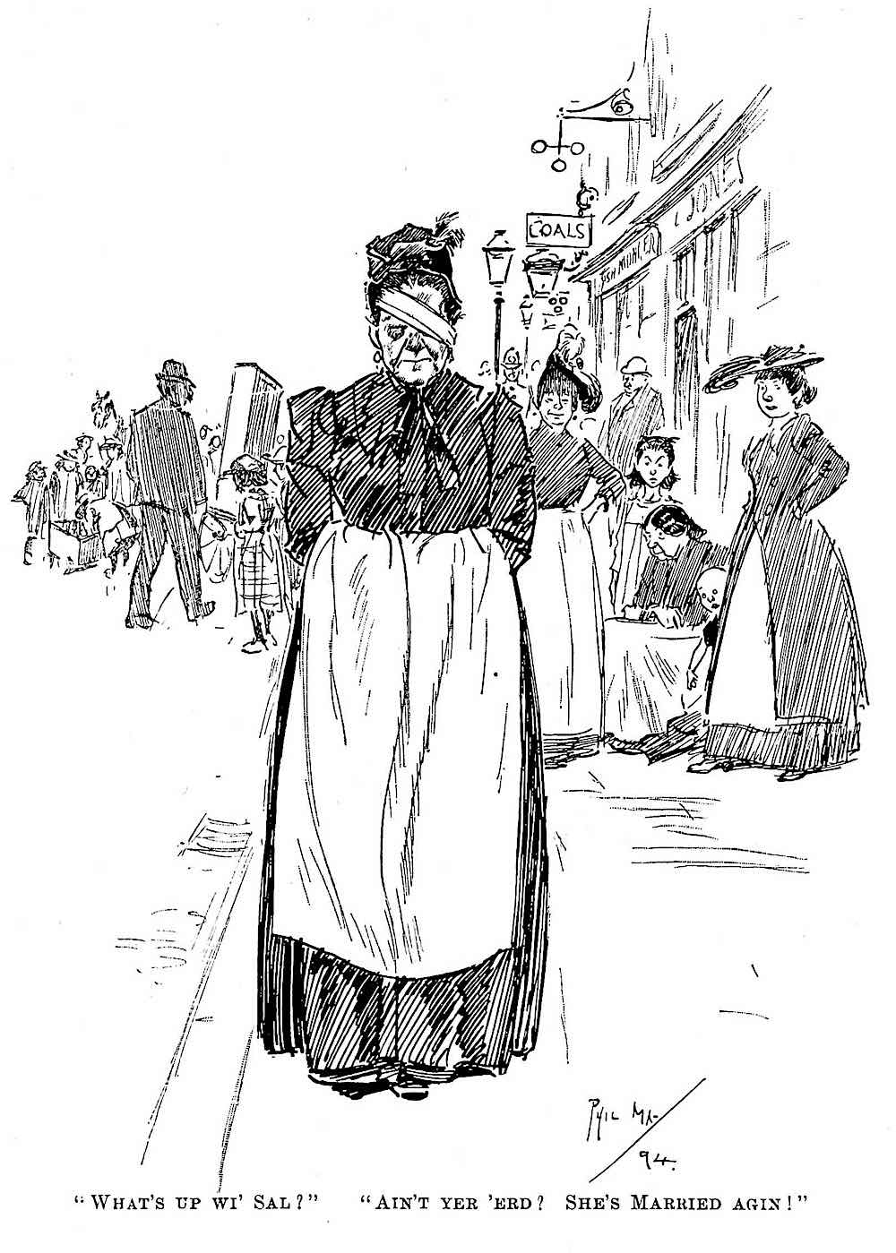 a Phil May drawing about wife beating in 1894