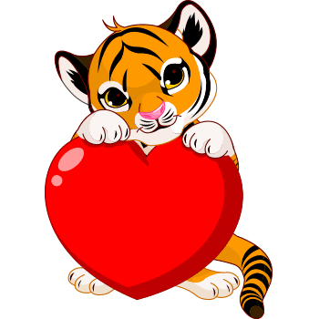 Tiger emoji with heart