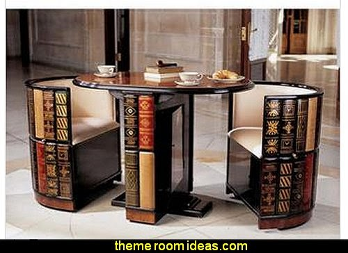 Nettlestone Library Ensemble  book themed decor - Bibliophiles decor - Book themed furnishings - home decor for book lovers - book themed bedroom -  Stacked Books decor -  Stacked Books furniture - bookworm decor -  book boxes - library furniture - formal study furniture - antique book decor -