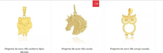 Pingentes de ouro com seu animal favorito para levar sempre com você no  peito. Raça de cachorros, cavalos, corujas, borboletas e muito mais. 12c6a4a727