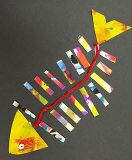 رسم سمكة للاطفال من الورق الملون