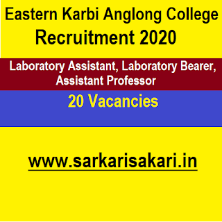 Eastern Karbi Anglong College Recruitment 2020 - Laboratory Assistant And Bearer/ Assistant Professor (20 Posts)
