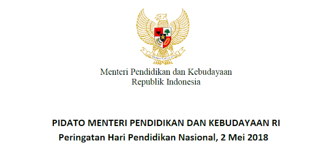 Pidato Kemendikbud Dalam Hardiknas 2018