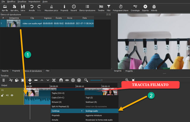 scollegare audio da video con shotcut