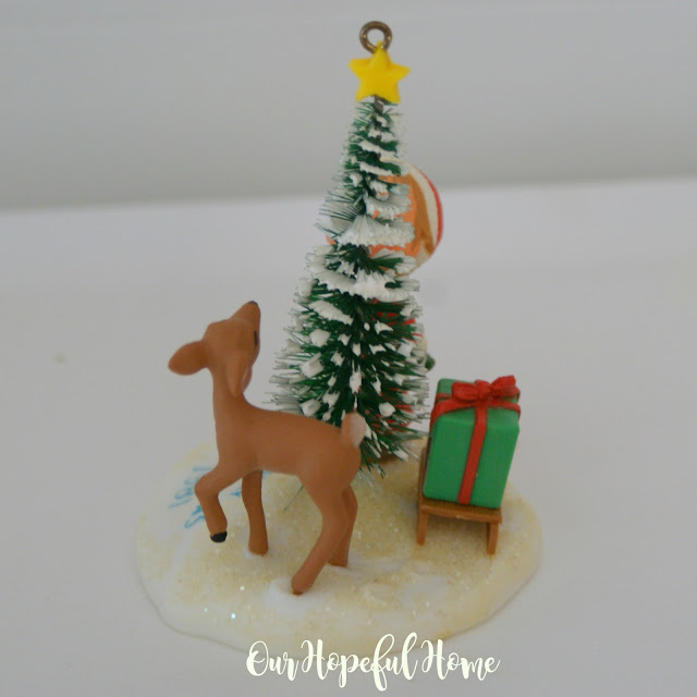 1981 Betsey Clark Christmas ornament boy tree deer