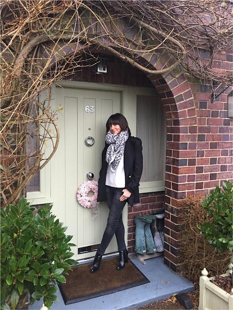 My Midlife Fashion, Reefer Jacket, Zara, skinny jeans, block heeled ankle boots, massimo dutti jumper, leopard print blanket scarf