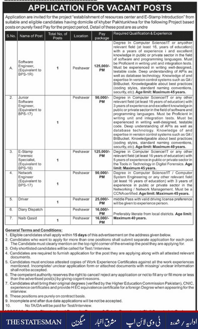 KPK Land Records, Revenue & Estate Department Jobs 2021 Peshawar