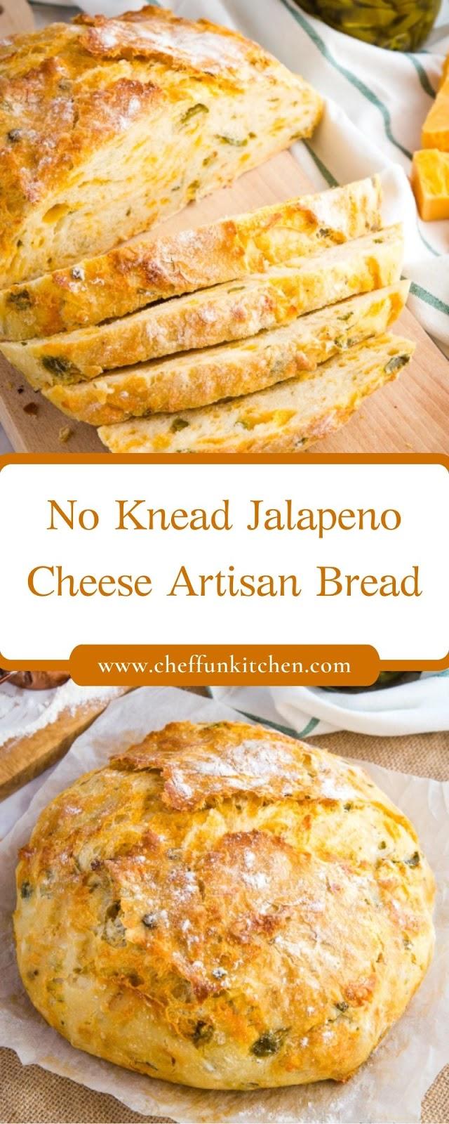 No Knead Jalapeno Cheese Artisan Bread