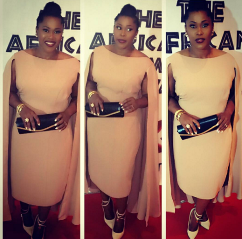 Nollywood actress Uche  Jombo  beautiful cape dress to the African Film Festival in Dallas, US