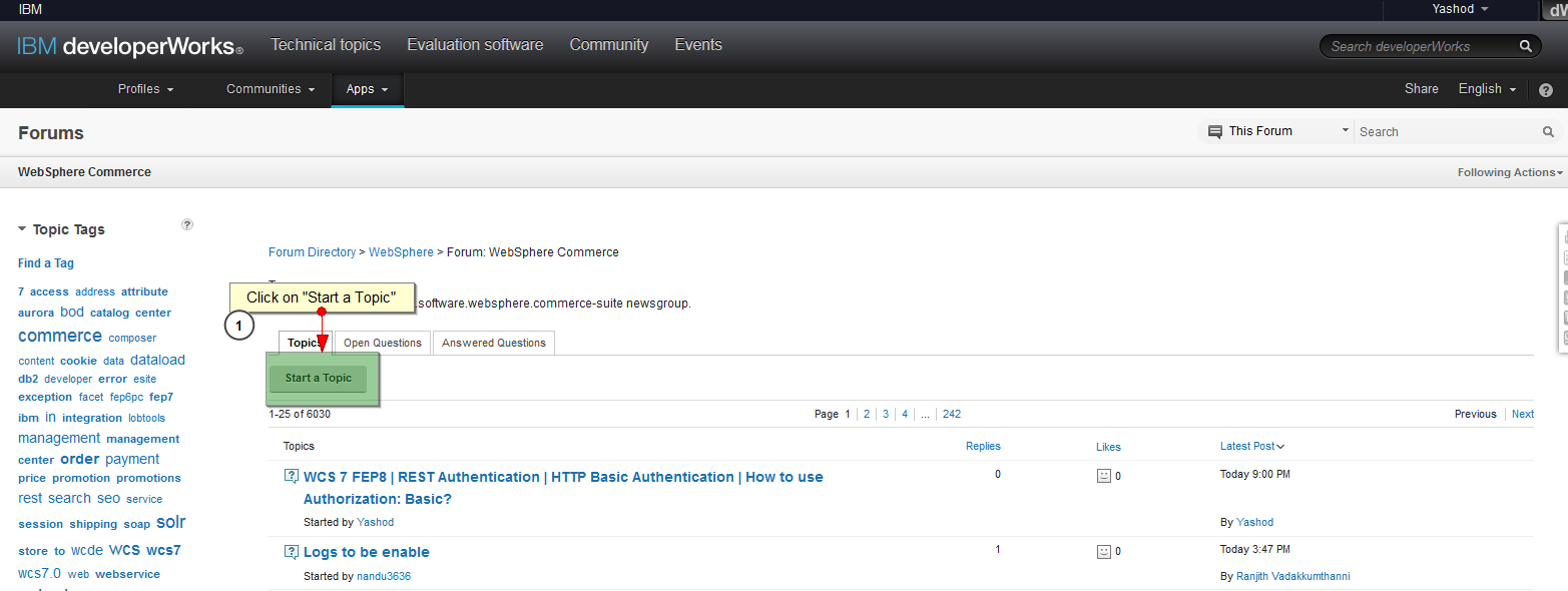 Yashod's Blog: WCS | IBM Developer Works | How to post questions in